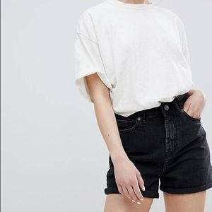NWT ASOS Black Denim High Waisted Cuffed Shorts